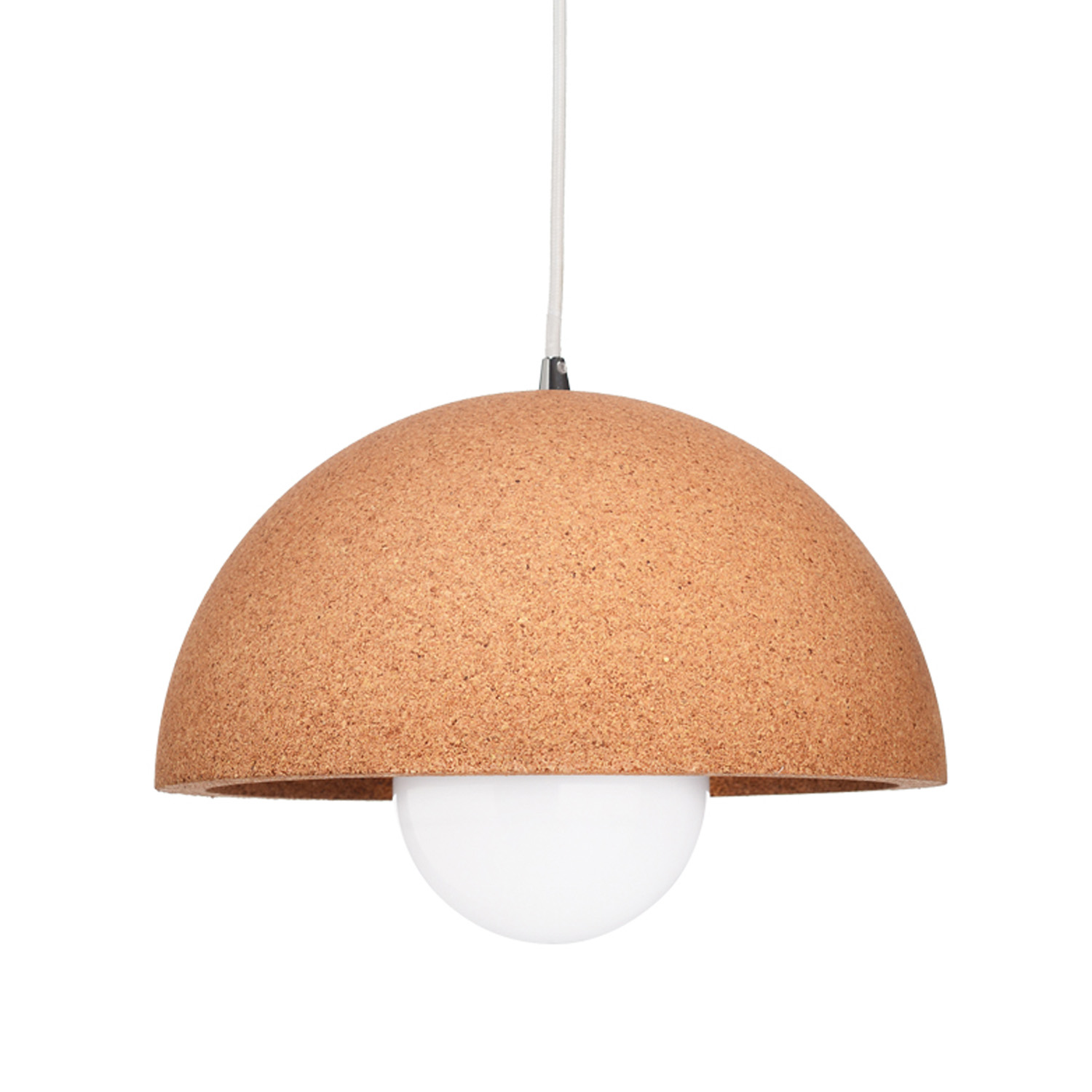 Hanging Cork And Metal Light With Fabric Cord